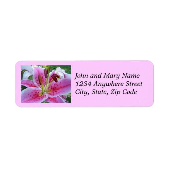 Étiquettes de adresse floraux de lis rose