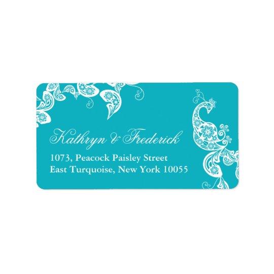 Étiquettes de adresse floraux de mariage de paon