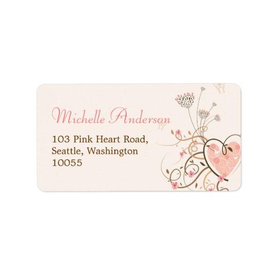 Étiquettes de adresse floraux de papillon rose