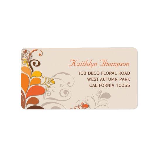 Étiquettes de adresse floraux de remous de Deco