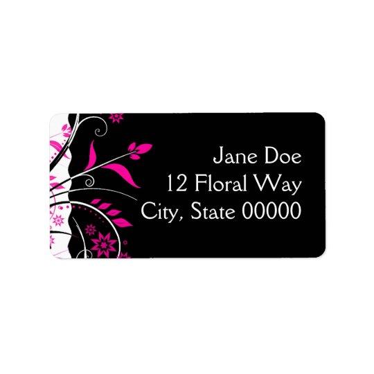 Étiquettes de adresse floraux de rose et de noir