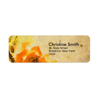 Étiquettes de adresse floraux oranges vintages étiquette d'adresse retour