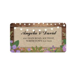 Étiquettes de adresse floraux pourpres rustiques