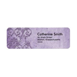Étiquettes de adresse floraux pourpres vintages étiquettes d'adresse retour