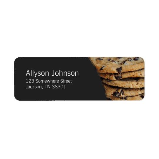 Étiquettes de adresse gris-foncé et de gâteaux aux