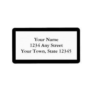 Étiquettes de adresse imprimés par coutume - noir étiquette d'adresse