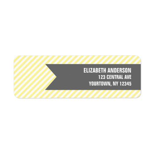 Étiquettes de adresse jaunes de motif de rayures