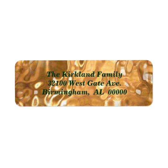 Étiquettes de adresse liquides de vacances d'or