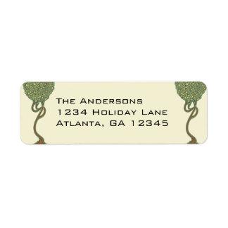 Étiquettes de adresse lunatiques de retour d'arbre