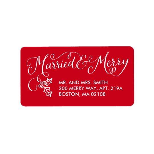 Étiquettes de adresse mariés et joyeux de vacances