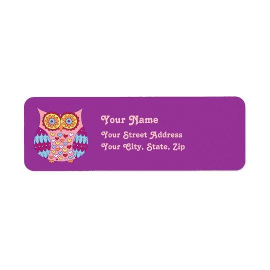 Étiquettes de adresse mignons de hibou