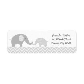 Étiquettes de adresse mignons d'éléphant gris et