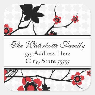 Étiquettes de adresse modernes de fleurs de cerisi autocollant