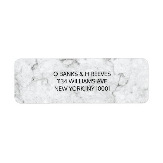 Étiquettes de adresse modernes de retour de marbre