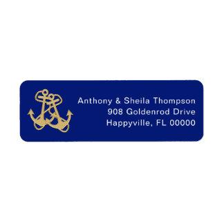 Étiquettes de adresse nautiques de bleu marine