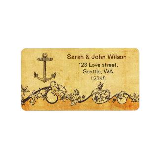 étiquettes de adresse nautiques de mariage d'ancre