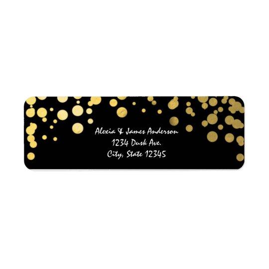 Étiquettes de adresse noirs élégants de confettis