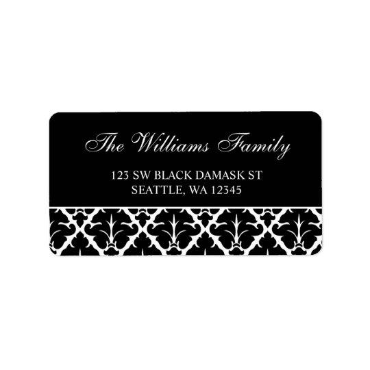 Étiquettes de adresse noirs et blancs élégants de