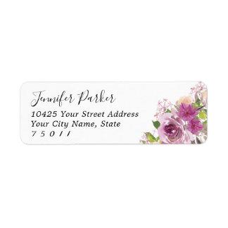 Étiquettes de adresse nuptiales floraux pourpres