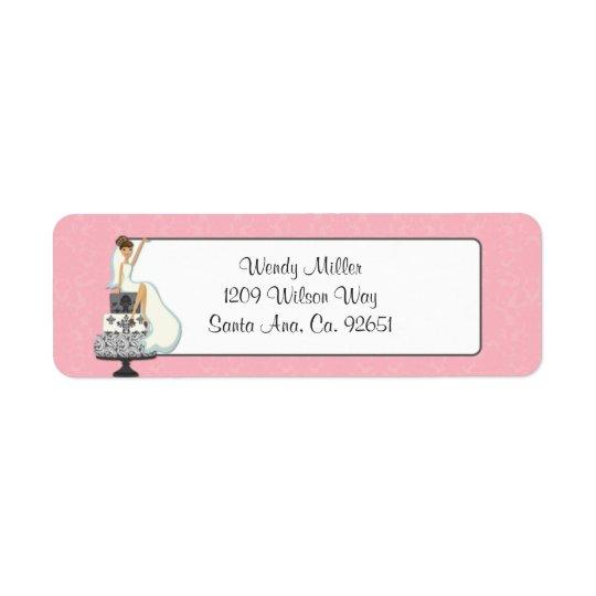 Étiquettes de adresse nuptiales roses de retour de