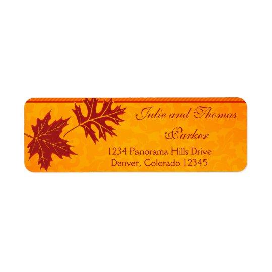 Étiquettes de adresse oranges de retour de mariage