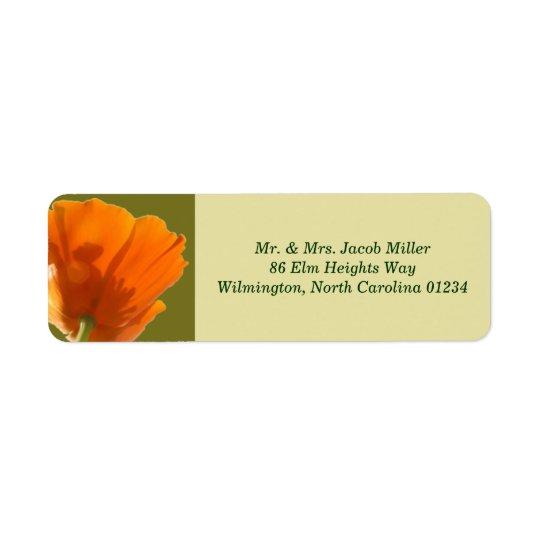 Étiquettes de adresse oranges de retour de pavot