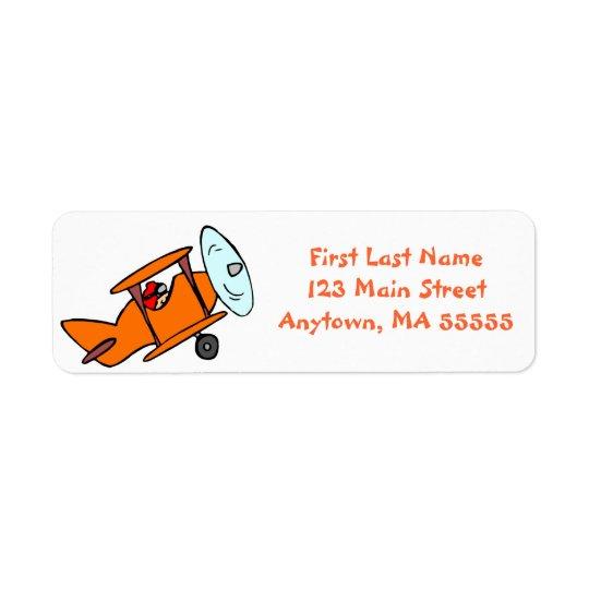 Étiquettes de adresse oranges mignons d'avion