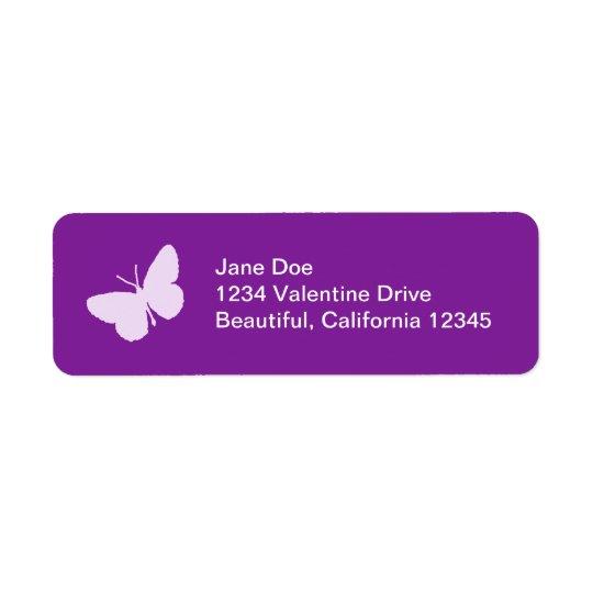 Étiquettes de adresse pourpres de papillon
