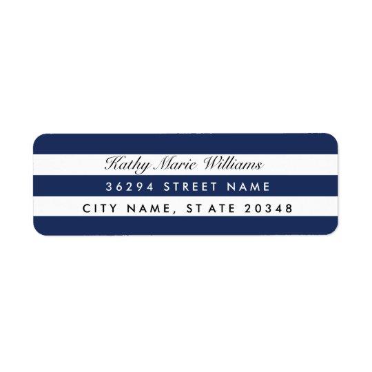 Étiquettes de adresse rayés de marine chic
