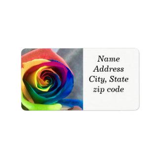 Étiquettes de adresse roses d'arc-en-ciel