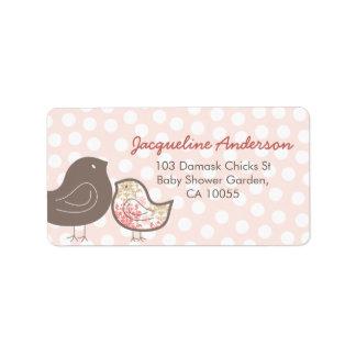 Étiquettes de adresse roses de baby shower de