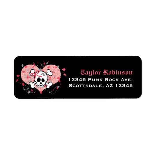 Étiquettes de adresse roses de retour de crâne fai