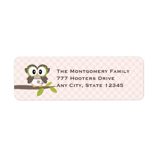Étiquettes de adresse roses de retour de hibou de