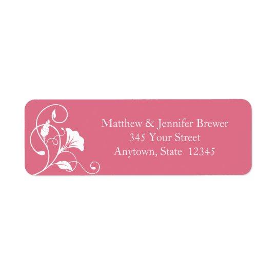 Étiquettes de adresse roses de retour d'enveloppe