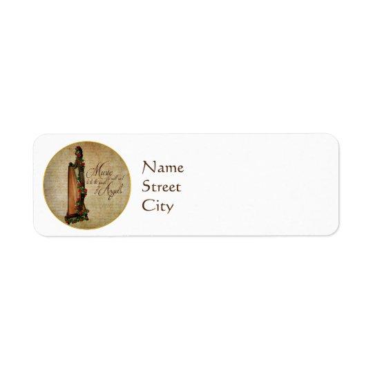 Étiquettes de adresse roses de retour d'harpe