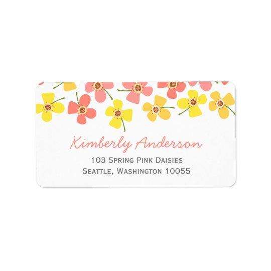 Étiquettes de adresse roses doux mignons