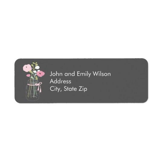 Étiquettes de adresse roses et gris de retour de p