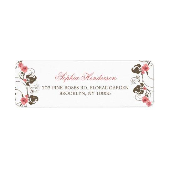 Étiquettes de adresse roses vintages de mariage de