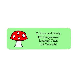 Étiquettes de adresse rouges de champignon