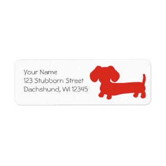 Étiquettes de adresse rouges de retour de chien de
