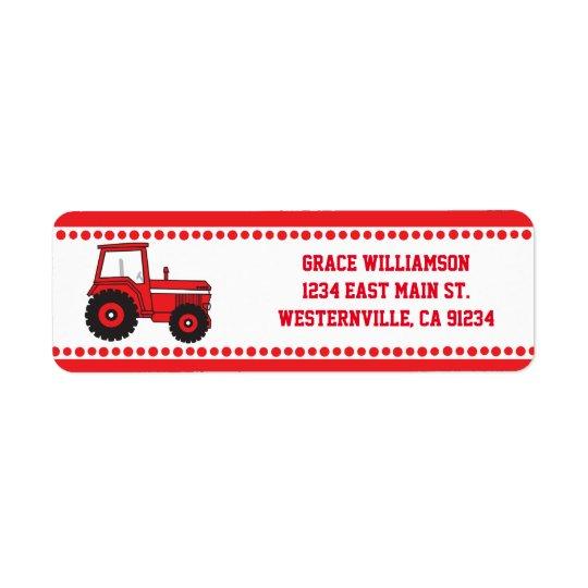 Étiquettes de adresse rouges de retour de tracteur