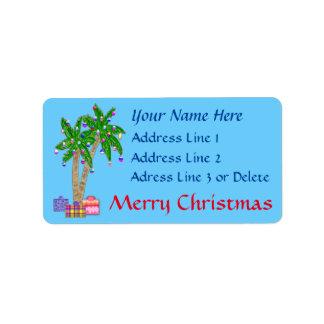 Étiquettes de adresse tropicaux de Noël avec VOTRE