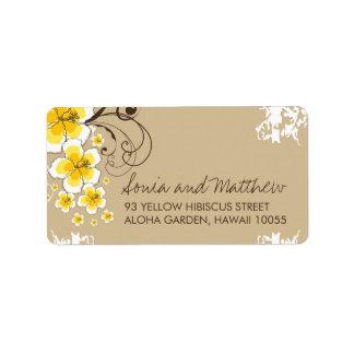 Étiquettes de adresse tropicaux jaunes de mariage