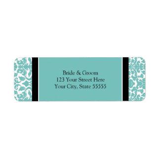 Étiquettes de adresse turquoises de retour fait su étiquettes d'adresse retour