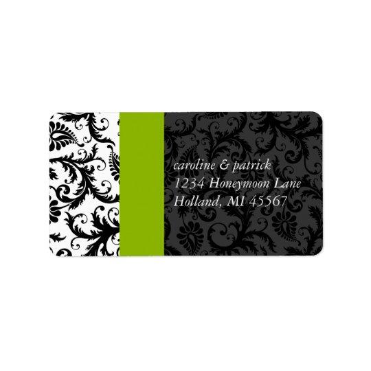 Étiquettes de adresse vert pomme et noirs de