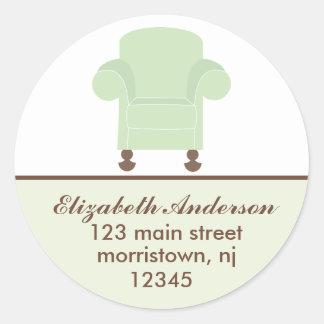 Étiquettes de adresse verts de chaise