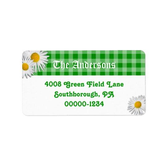 Étiquettes de adresse verts de coutume de guingan