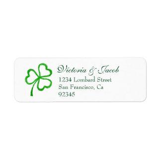 Étiquettes de adresse verts de retour de mariage