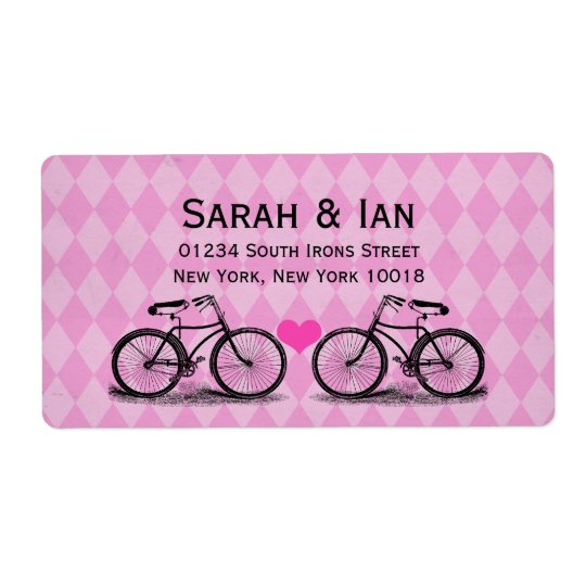 Étiquettes de adresse vintages de mariage de bicyc