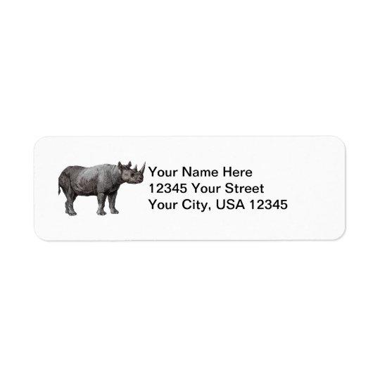 Étiquettes de adresse vintages de retour de rhinoc